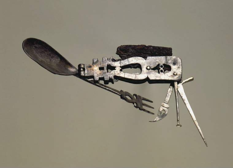 ancient Roman multi tool with spoon, toothpick and a fork