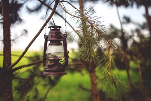 Old-school, antiqued brown oil lantern.