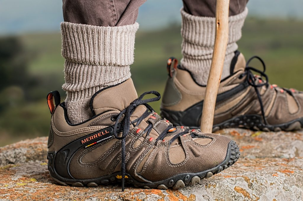 Close-up photo of a pair of Merrell hiking shoes