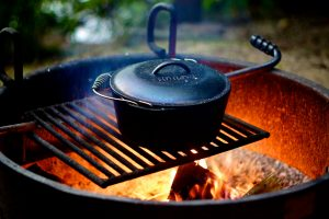 You can even cook dessert in a cast iron Dutch oven directly over an open flame on your campfire