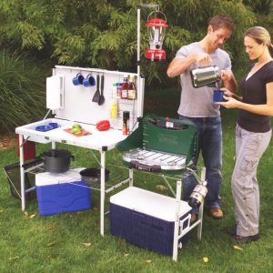 Coleman provides a foldable and easily transportable camp kitchen which provides ample room for all your camp kitchen necessities like stove, fuel, lantern and even a food prep space