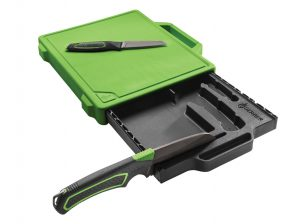 A knife set with integrated cutting board and blade sharpener is the way to cut costs and save space when packing your ultimate camp kitchen setup