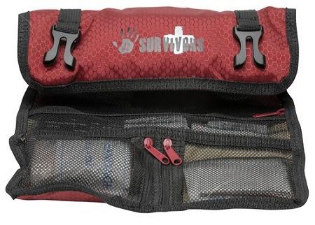The 12 Survivors ultra lightweight first aid kit includes everything a hiker needs.