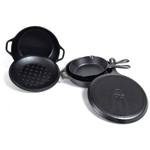 Use cast iron on a camping trip to cook directly over open flame or coals.