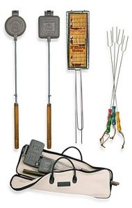 Fire pit/campfire barbecue tool set includes S'mores forks and pie irons so you can can cook directly over an open flame.