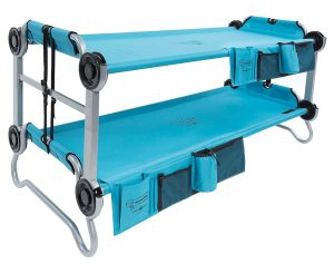 Portable bunk beds convert from a sitting bench to bunk beds to two single cots