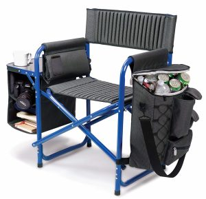 This is the ultimate camp chair with a cooler, padded seat, fold out table, shelves and multiple storage pockets!