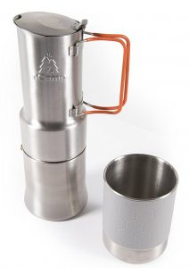 Moka-style Italian espresso and coffee maker for campfires or camp stoves.