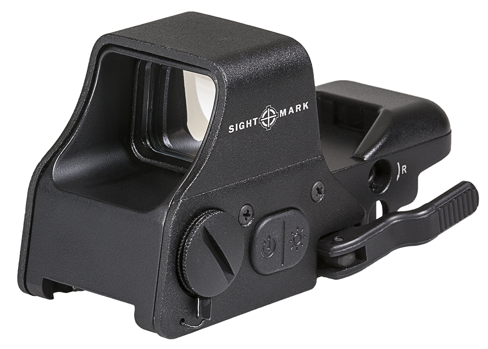 A reflex sight is the most popular AR optic. This one from Sightmark has both red and green dot reticles.