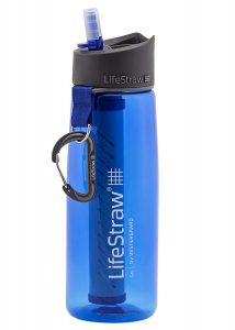 The 23-oz. LifeStraw water bottle with integrated filter removes bacteria and parasites.