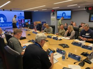 The U.S. National Guard meeting with FEMA to coordinate response efforts to Hurricane Barry on July 12, 2019